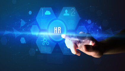 Hand touching HR inscription, new technology concept