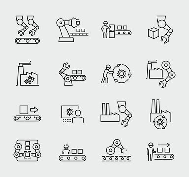 Production Vector Line Icons Set