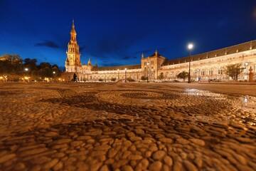 Seville Plaza de Espana night