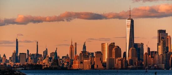 New York City downtown skyline sunset