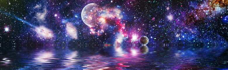 Deep reflected space in water . Starry outer space background texture . Colorful Starry Night Sky Outer Space background ,Elements of this image furnished by NASA.