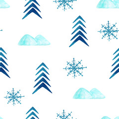 trendy scandinavian pattern with mountains,fir and snowflakes. christmas tile print.