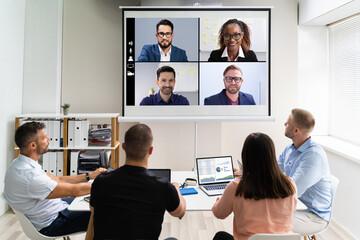 Foto auf Leinwand Vogel auf Asten Online Video Conference Training Business Meeting