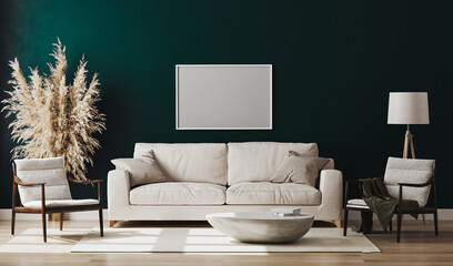 Blank picture frame mock up in emerald colour room interior , 3d rendering