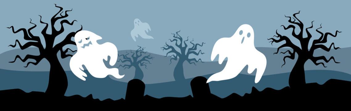 Spooky ghost Halloween Background