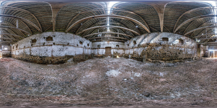 full seamless spherical hdri panorama 360 degrees angle view inside abandoned ruined factory hangar in equirectangular projection, VR AR virtual reality content. Building of agricultural elevator