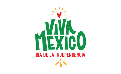 Viva Mexico, colorful lettering with flag colors. Mexican independence day celebration banner.