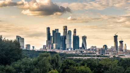 Fototapete - Moscow-City skyscrapers, Russia.
