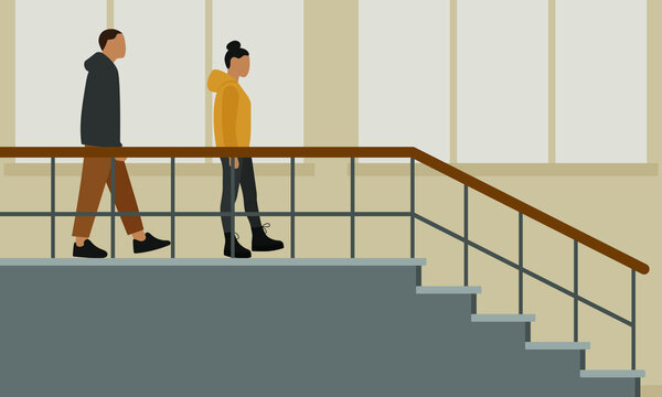 Male character and female character go on stairwell