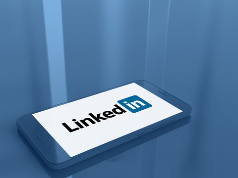 Linkedin logo on the screen of a smartphone - bright and vibrant monochrome 3D illustration - American business and employment-oriented online service - Poitiers, France, August 25, 2020