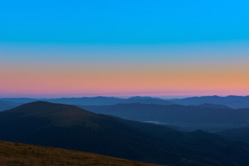 Printed roller blinds Salmon The first or last rays of the sun on a mountain pass. Morning and evening in nature. Colorful sunset and sunrise over the mountain hills. Carpathians in summer and autumn.