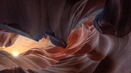Photo sur Aluminium Antilope antelope canyon in arizona, usa - background and travel concept. Art and abstract concept in the famous Canyon Antelope near page, arizona, usa.