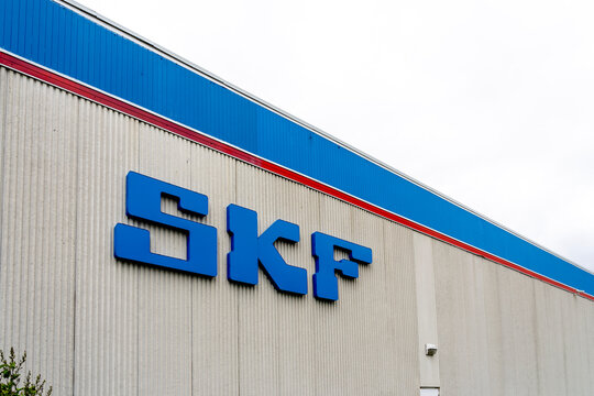 Scarborough, Toronto, Canada - August 29, 2020: SKF Canada sign on the building in Scarborough, Toronto. SKF is the world's largest bearing manufacturer, founded in Gothenburg, Sweden in 1907.