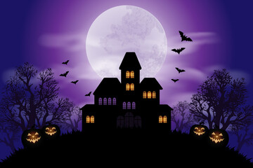 Obraz Halloween background with haunted house and full moon - fototapety do salonu