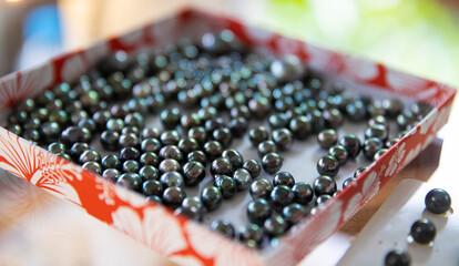 Beautiful, shiny black Tahitian pearls