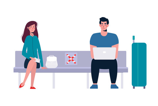 A socially safe distance between a man and a woman on the bench so as not to spread the virus, the coronavirus COVID-19. People keep their distance in the waiting room. Vector illustration, flat.