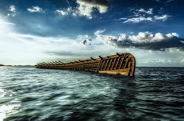 Acrylic Prints Shipwreck ship wreck on the sea
