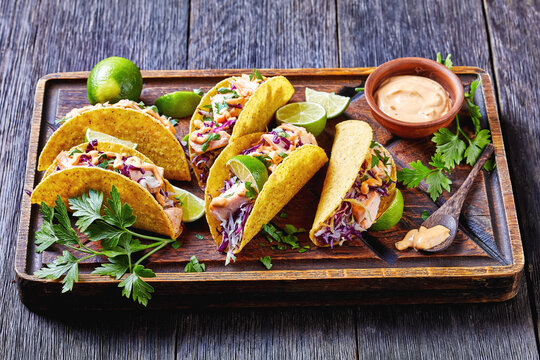 fish tacos with shredded red cabbage salad
