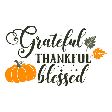 Grateful thankful Blessed slogan inscription. Vector quotes. Illustration for Thanksgiving for prints on t-shirts and bags, posters, cards. Isolated on white background. Thanksgiving phrase.