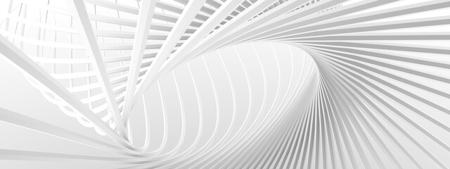 Unusual architectural abstraction. Stylish white background. Minimalistic design. 3D illustration, 3D rendering.