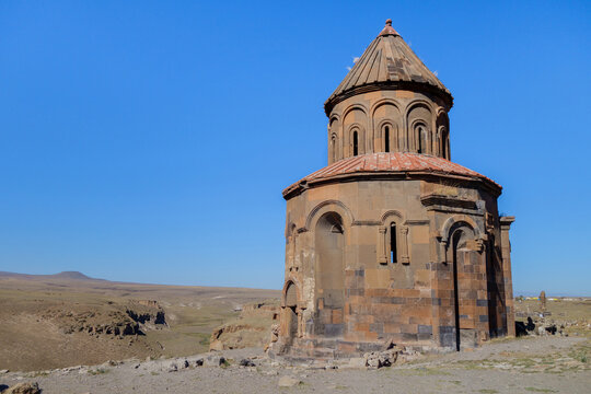 Church of St Gregory of the Abughamrents in medieval city Ani, near Kars, Turkey. Church was built in 10 century. It belongs to Armenian christianity, built in traditional style. It's UNESCO object