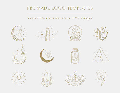 Gemstones collection of hand drawn logo designs