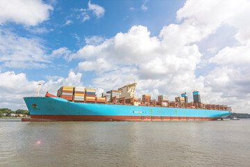 Large container vessel on the Elbe river in Hamburg, Germany