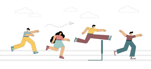 Running with obstacles. Business concept. People run to the distillation, jump over hurdles. Flat style. Vector illustration on white background.