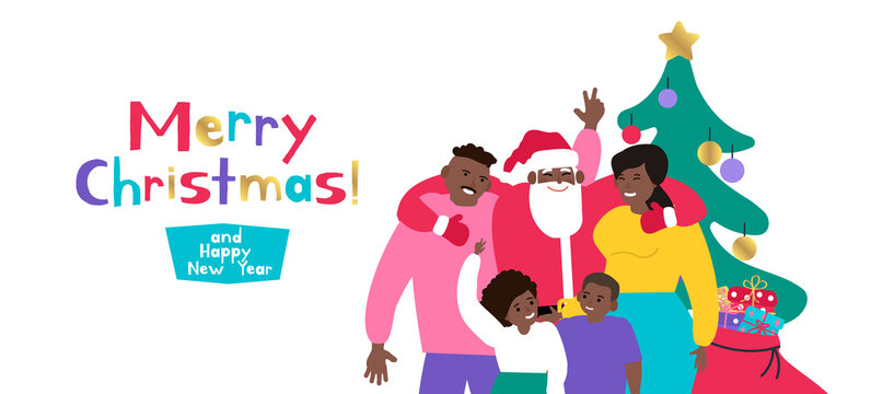 merry christmas and happy new year santa claus hugging with african american family