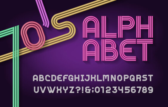 70s Retro stripe alphabet font. Funky type 3d letters, numbers and symbols. Typography for headlines, posters etc. in 70s style.