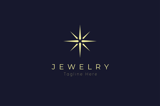 Jewelry Logo, jewel luster logo inspiration, flat design logo template, vector illustration