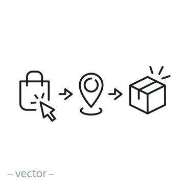click and collect order, icon, receive order in pick up point, delivery services steps, e-commerce concept - editable stroke vector illustration eps 10