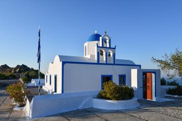 Blue domes of Santorini in Greece