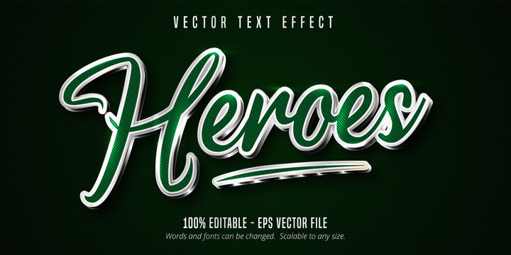 Heroes text, green color and shiny silver style editable text effect