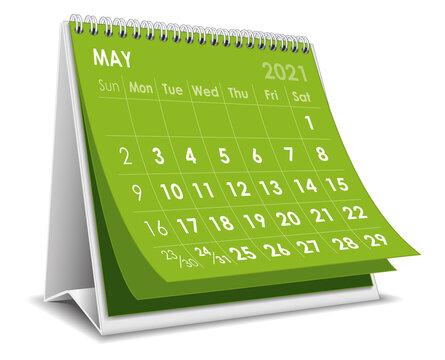 Desktop calendar May 2021 illustration