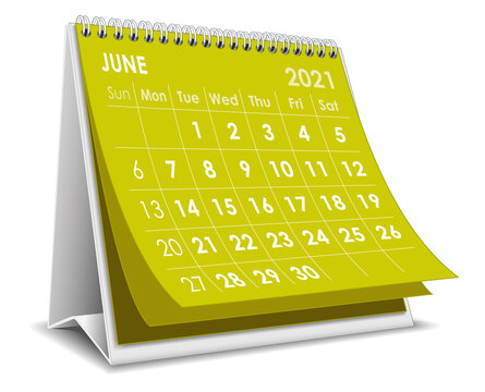 Desktop calendar June 2021 illustration
