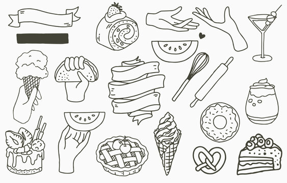 food logo collection with cake,drink,dessert,pineapple.Vector illustration for icon,logo,sticker,printable and tattoo