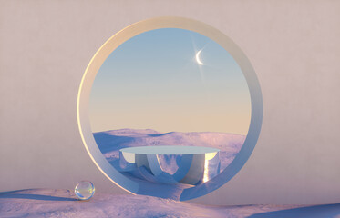Fototapeta Abstract winter scene with geometrical forms, arch with a podium in natural light. surreal background. 3D render. obraz