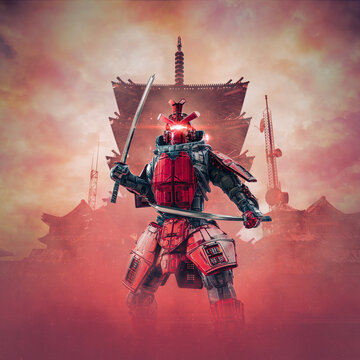 Cyborg samurai warrior / 3D illustration of science fiction cyberpunk armoured robot with katana swords with oriental buildings in background