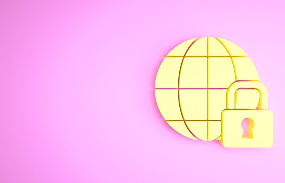 Yellow Global lockdown - locked globe icon isolated on pink background. Minimalism concept. 3d illustration 3D render.