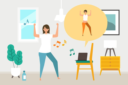 Online fitness concept. Work out via monitor, laptop, tablet. Vector illustration of a woman dancing zumba in her home.