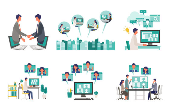 Telecommuting concept. Vector illustration of people having communication via telecommuting system. Concept for any telework illustration, video conference, workers at home.