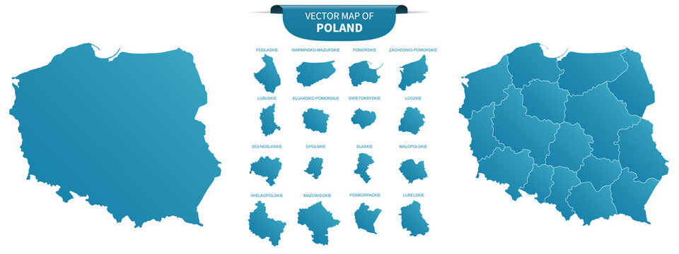 blue colored political maps of Poland isolated on white background