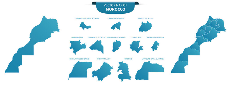 blue colored political maps of Morocco isolated on white background