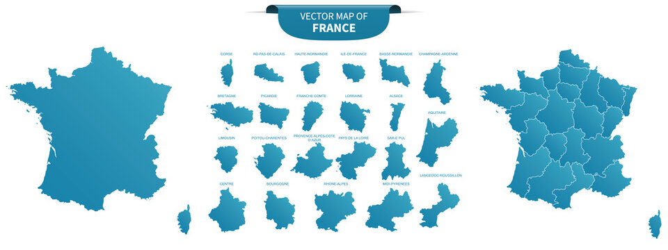 blue colored political maps of France isolated on white background
