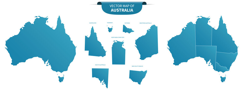 blue colored political maps of Australia isolated on white background