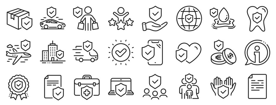 Health care, risk, help service. Insurance line icons. Car accident, flood insurance, flight protection icons. Safety document, money savings, delivery risk. Car full coverage. Vector