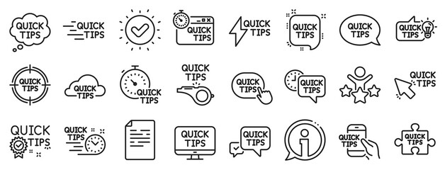 Set of Helpful tricks, Solution and Quickstart guide linear icons. Quick tips line icons. Tutorial, helpful tips and turning tricks. Hand hold smartphone, Quick chat, tutorial, whistle signs. Vector