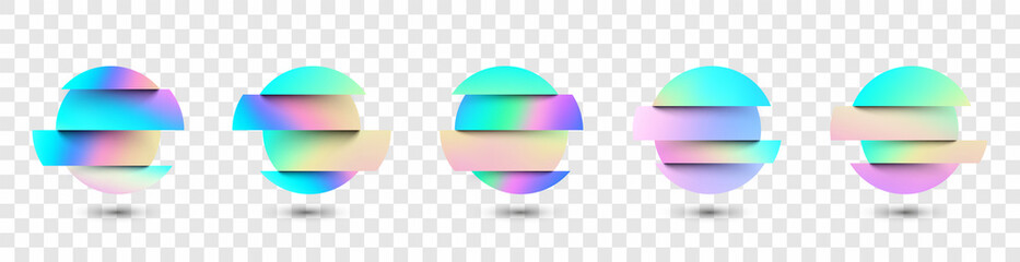 Set of deformed gradient circles in glitch style.