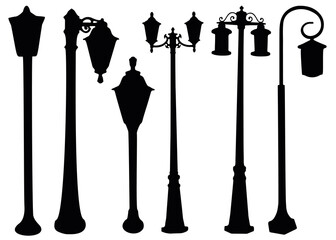 Street and garden lights in the set. Lanterns for lighting. Fotomurales